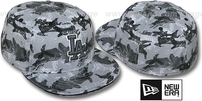 Dodgers 'THUMBPRINT' Grey Fitted Hat by New Era : pictured without stickers that these products are shipped with