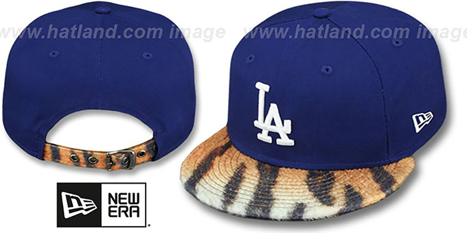Dodgers 'TIGER ANIMALISTIC-FUR VIZA STRAPBACK' Hat by New Era : pictured without stickers that these products are shipped with