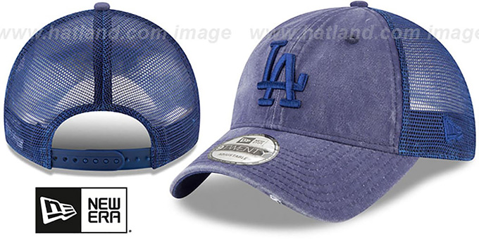 Dodgers 'TONAL-WASHED TRUCKER SNAPBACK' Royal Hat by New Era : pictured without stickers that these products are shipped with