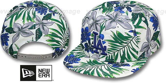 Dodgers 'TROPTRIP BLOOM SNAPBACK' Hat by New Era : pictured without stickers that these products are shipped with