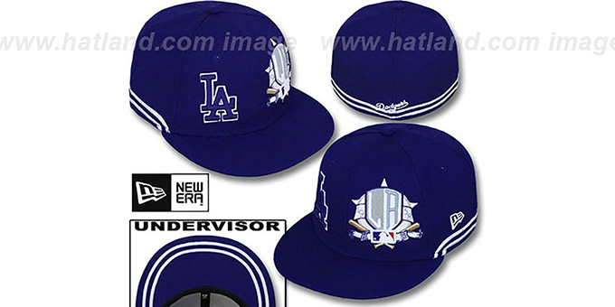 Dodgers 'TWO-BIT' Royal-White Fitted Hat by New Era : pictured without stickers that these products are shipped with