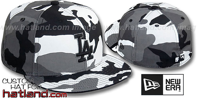 Dodgers 'URBAN CAMO' Fitted Hat by New Era : pictured without stickers that these products are shipped with