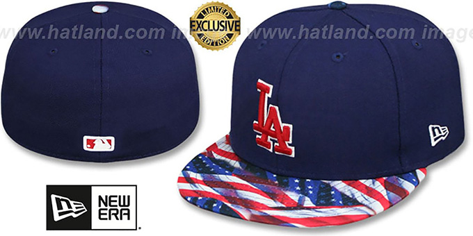Dodgers 'USA WAVING-FLAG' Navy Fitted Hat by New Era : pictured without stickers that these products are shipped with