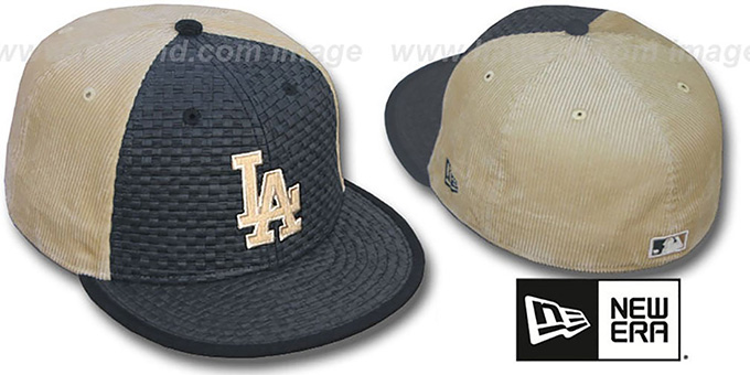 Dodgers 'WEAVE-N-CORD' Fitted Hat by New Era - black-tan : pictured without stickers that these products are shipped with