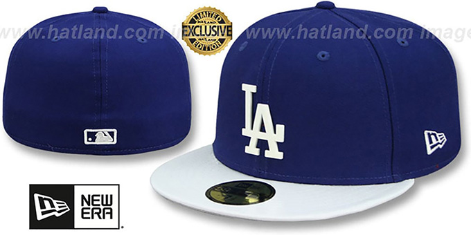Dodgers 'WHITE METAL-BADGE' Royal-White Patent Fitted Hat by New Era : pictured without stickers that these products are shipped with