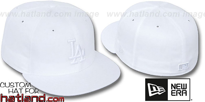 Dodgers 'WHITEOUT' Fitted Hat by New Era : pictured without stickers that these products are shipped with