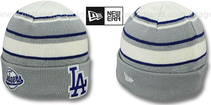 Dodgers 'WINTER TRADITION' Knit Beanie Hat by New Era : pictured without stickers that these products are shipped with