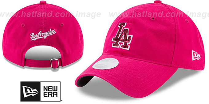 Dodgers 'WOMENS MOTHERS DAY GLIMMER STRAPBACK' Pink Hat by New Era : pictured without stickers that these products are shipped with
