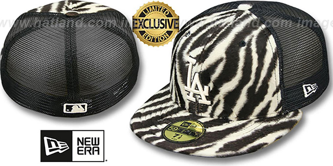 Dodgers ZEBRA 'ANIMAL-FUR MESH-BACK' Fitted Hat by New Era : pictured without stickers that these products are shipped with