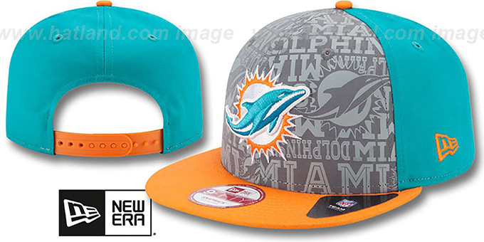 Dolphins '2014 NFL DRAFT SNAPBACK' Aqua-Orange Hat by New Era : pictured without stickers that these products are shipped with
