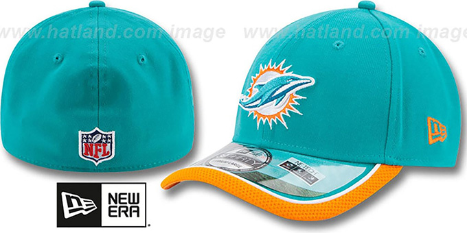 Dolphins '2014 NFL STADIUM FLEX' Aqua Hat by New Era : pictured without stickers that these products are shipped with