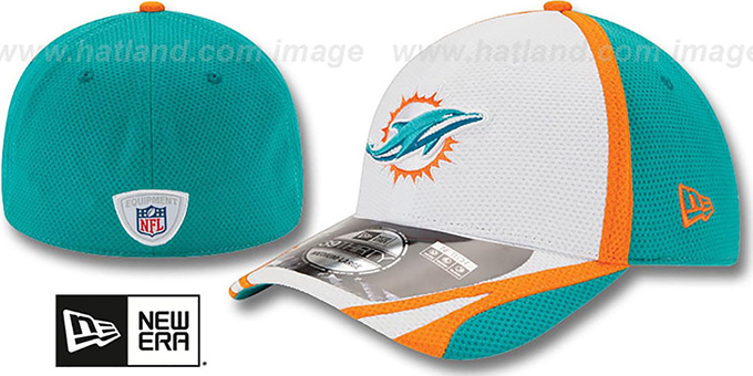 Dolphins '2014 NFL TRAINING FLEX' White Hat by New Era : pictured without stickers that these products are shipped with