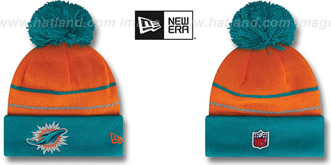 Dolphins 'THANKSGIVING DAY' Knit Beanie Hat by New Era : pictured without stickers that these products are shipped with