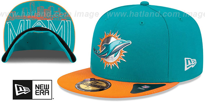 Dolphins '2015 NFL DRAFT' Aqua-Orange Fitted Hat by New Era : pictured without stickers that these products are shipped with