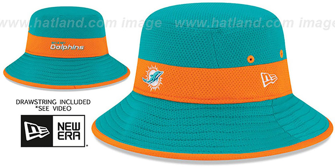Dolphins '2015 NFL TRAINING BUCKET' Aqua Hat by New Era : pictured without stickers that these products are shipped with