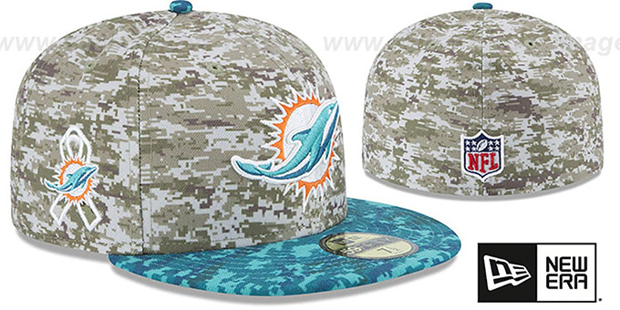 Dolphins '2015 SALUTE-TO-SERVICE' Desert-Aqua Fitted Hat by New Era : pictured without stickers that these products are shipped with
