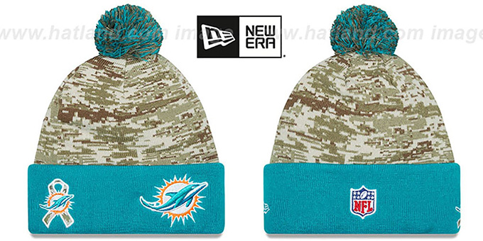 Dolphins '2015 SALUTE-TO-SERVICE' Knit Beanie Hat by New Era : pictured without stickers that these products are shipped with