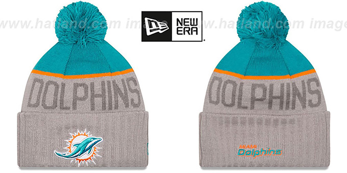 Dolphins '2015 STADIUM' Grey-Aqua Knit Beanie Hat by New Era : pictured without stickers that these products are shipped with