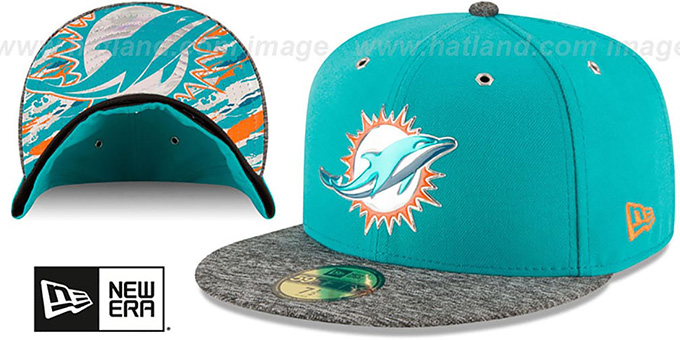 Dolphins '2016 NFL DRAFT' Fitted Hat by New Era : pictured without stickers that these products are shipped with