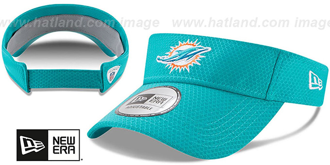 Dolphins '2017 NFL TRAINING VISOR' Aqua by New Era : pictured without stickers that these products are shipped with