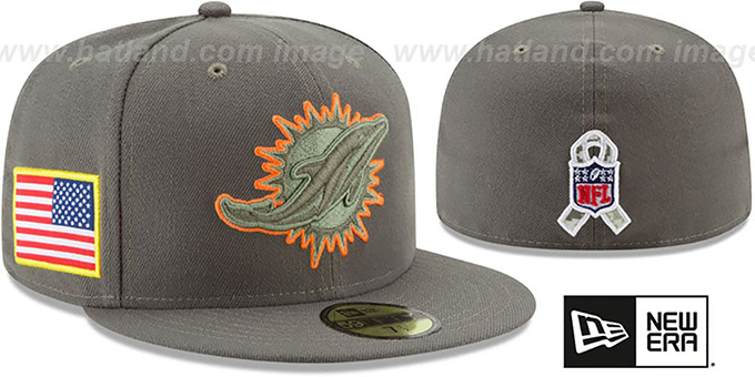Dolphins  2017 SALUTE-TO-SERVICE  Green Fitted Hat by New Era 8a56b1e951eb
