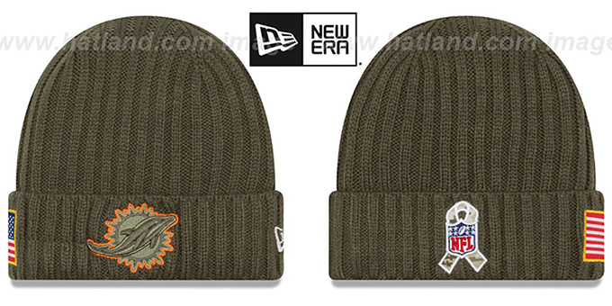 c5512be2541e8a Dolphins 2017 SALUTE-TO-SERVICE Knit Beanie Hat by New Era
