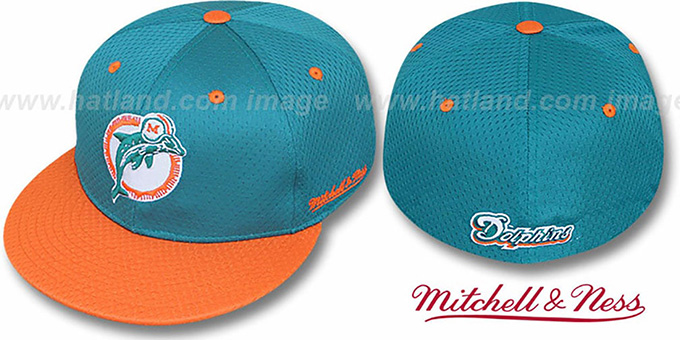 Dolphins '2T BP-MESH' Aqua-Orange Fitted Hat by Mitchell & Ness : pictured without stickers that these products are shipped with
