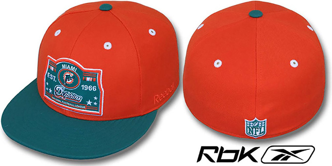 Dolphins '2T ESTABLISHED' Orange-Aqua Fitted Hat by Reebok : pictured without stickers that these products are shipped with