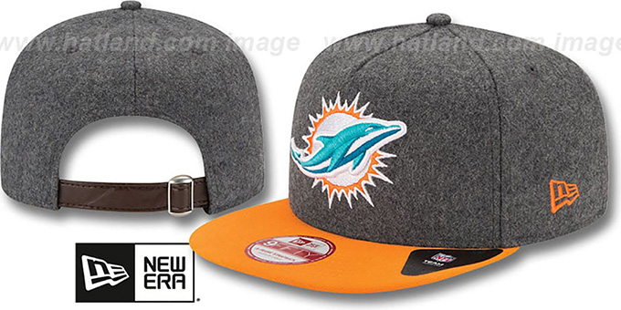 Dolphins '2T MELTON A-FRAME STRAPBACK' Hat by New Era : pictured without stickers that these products are shipped with