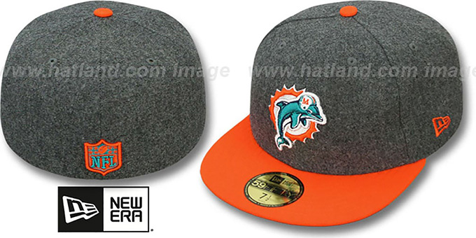 Dolphins '2T NFL MELTON-BASIC' Grey-Orange Fitted Hat by New Era : pictured without stickers that these products are shipped with
