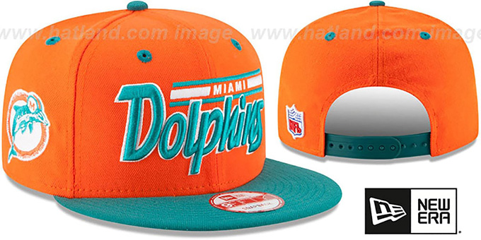Dolphins '2T RETRO-SCRIPT SNAPBACK' Orange-Aqua Hat by New Era : pictured without stickers that these products are shipped with