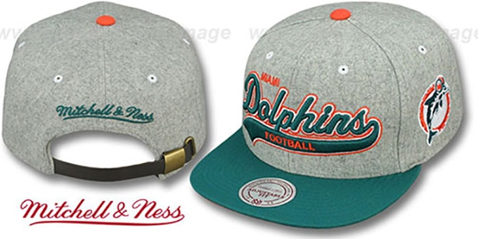 Dolphins '2T TAILSWEEPER STRAPBACK' Grey-Aqua Hat by Mitchell & Ness : pictured without stickers that these products are shipped with