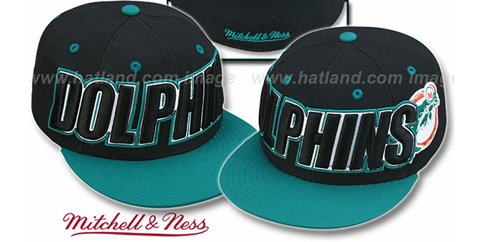 Dolphins '2T WORDMARK' Black-Aqua Fitted Hat by Mitchell & Ness : pictured without stickers that these products are shipped with