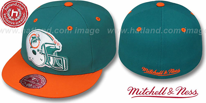 Dolphins '2T XL-HELMET' Aqua-Orange Fitted Hat by Mitchell & Ness : pictured without stickers that these products are shipped with
