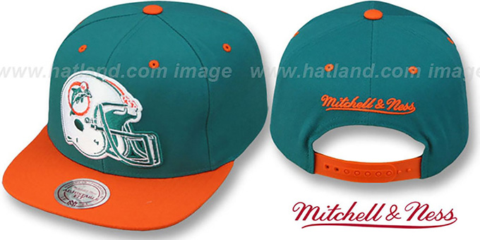 Dolphins '2T XL-HELMET SNAPBACK' Aqua-Orange Adjustable Hat by Mitchell and Ness : pictured without stickers that these products are shipped with