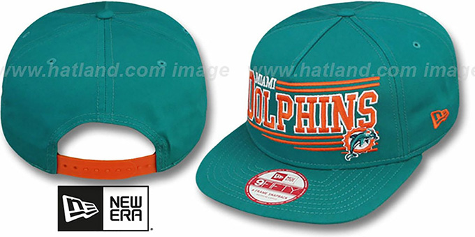 Dolphins 'ANGULAR A-FRAME SNAPBACK' Aqua Hat by New Era : pictured without stickers that these products are shipped with