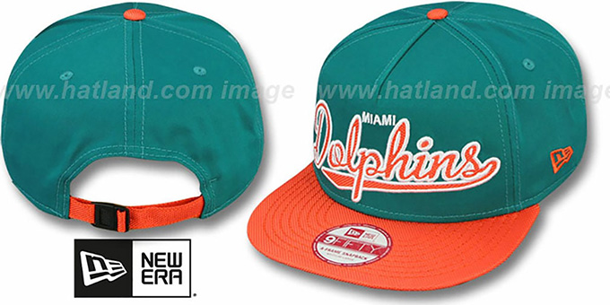 Dolphins 'BALLISTIC SCRIPT A-FRAME STRAPBACK' Aqua-Orange Hat by New Era : pictured without stickers that these products are shipped with