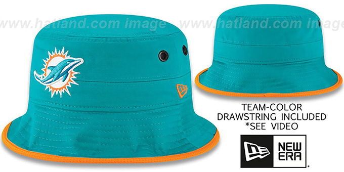 Miami Dolphins BASIC-ACTION Aqua Bucket Hat by New Era 753b977c4