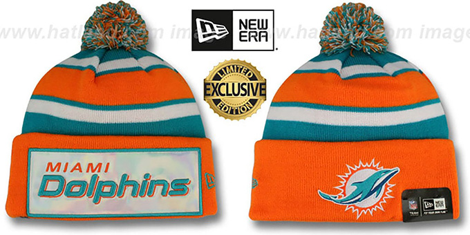 Dolphins 'BIG-SCREEN' Knit Beanie Hat by New Era : pictured without stickers that these products are shipped with