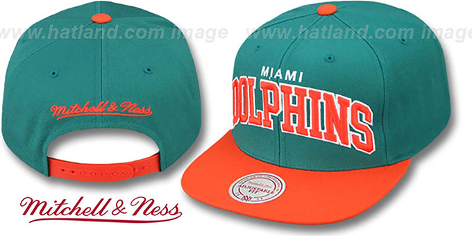 Dolphins 'BLOCK-ARCH SNAPBACK' Aqua-Orange Hat by Mitchell & Ness : pictured without stickers that these products are shipped with