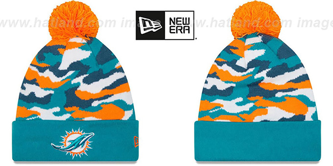 Dolphins 'CAMO CAPTIVATE' Knit Beanie Hat by New Era : pictured without stickers that these products are shipped with