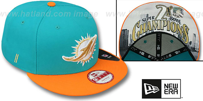 Dolphins 'CHAMPS-HASH SNAPBACK' Aqua-Orange Hat by New Era : pictured without stickers that these products are shipped with