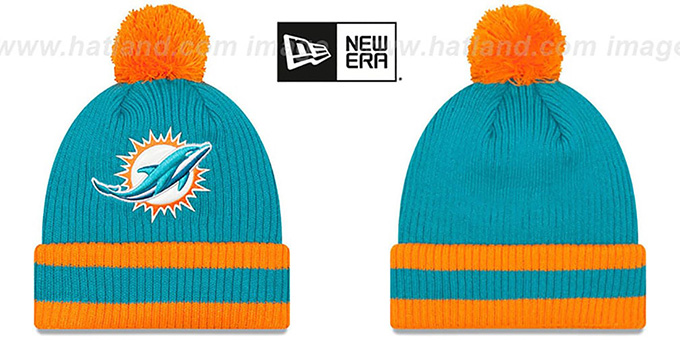 Dolphins 'CHILLER FILLER BEANIE' Aqua-Orange by New Era : pictured without stickers that these products are shipped with