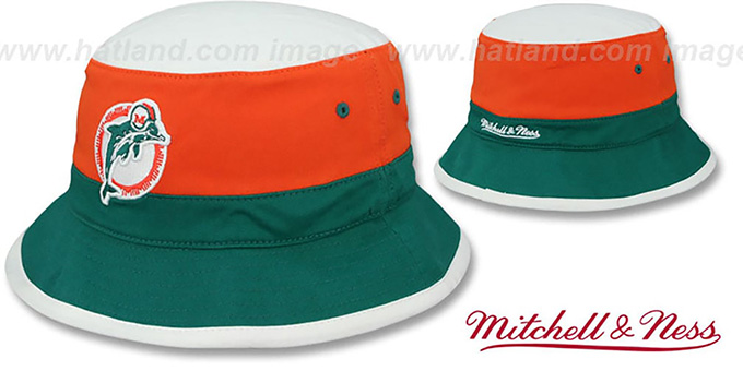 Dolphins 'COLOR-BLOCK BUCKET' White-Orange-Aqua Hat by Mitchell and Ness : pictured without stickers that these products are shipped with