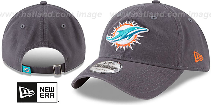 Dolphins 'CORE-CLASSIC STRAPBACK' Charcoal Hat by New Era