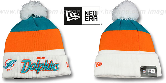Dolphins 'CUFF-SCRIPTER' White-Orange-Aqua Knit Beanie Hat by New Era : pictured without stickers that these products are shipped with