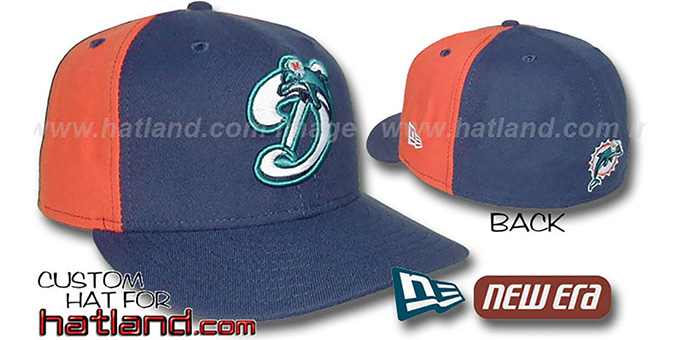 Dolphins 'DECEPTOR PINWHEEL-2' Navy-Orange Fitted Hat : pictured without stickers that these products are shipped with