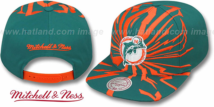 Dolphins 'EARTHQUAKE SNAPBACK' Aqua Hat by Mitchell & Ness : pictured without stickers that these products are shipped with