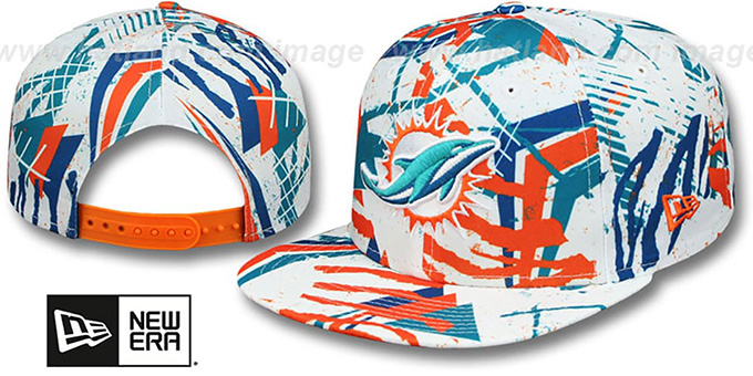 Dolphins 'GEOMET TRICK SNAPBACK' Hat by New Era : pictured without stickers that these products are shipped with