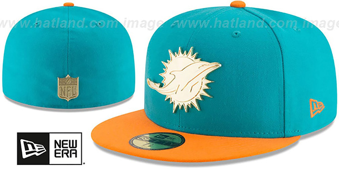 9a7585dcb013d Dolphins  GOLDEN-BADGE  Aqua-Orange Fitted Hat by New Era